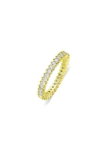 Aykat Bayan Yüzüğü Tamtur Sarı Yaldız Rengi Gümüş Tam Tur Yüzük Yzk-365 Gümüş
